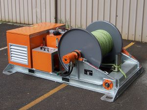 10kN Skid-mount Recovery Winch including Automatic Fairlead - electric cable pulling winch