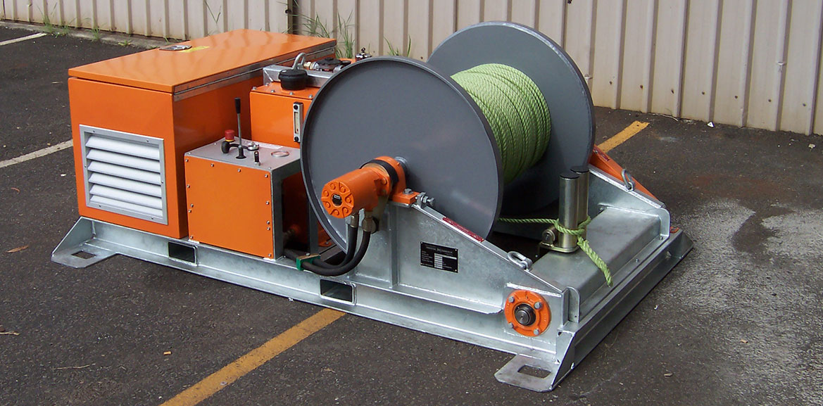 10kN Skid-mount Recovery Winch including Automatic Fairlead